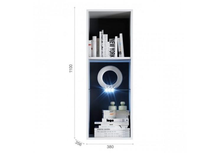 Пенал-витрина навесная Йорк (01) ПР Белый жемчуг/Белый глянец