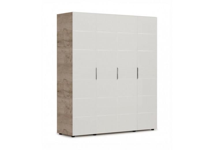Шкаф Джулия 4-х дверный Дуб крафт серый/Белый глянец (ДДДД)