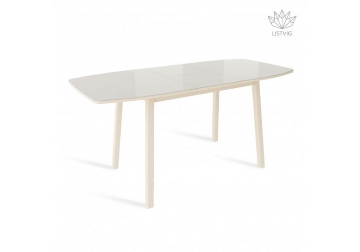 Стол раздвижной со стеклом ЛИОН  Латте/Кремовый