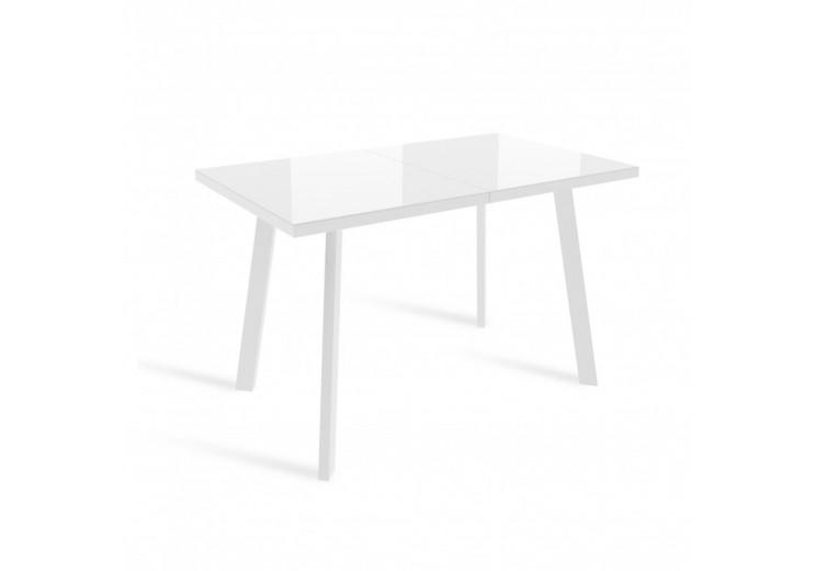 Стол раздвижной со стеклом ФИН Белый/Белый